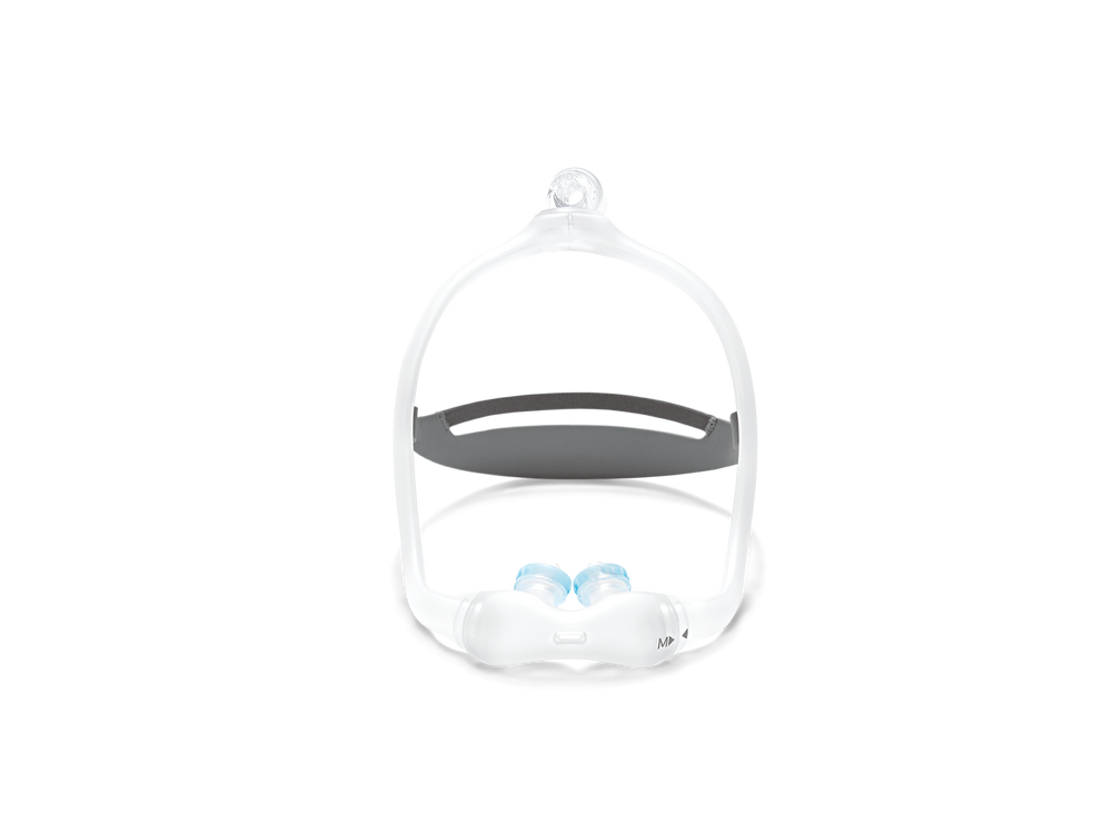 Gel nasal pillow with mask and headgear, front view