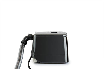 SleepStyle Auto CPAP device - side view with tube and power cord attached