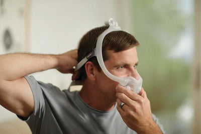 Man putting on mask with headgear and full face cushion attached, side view