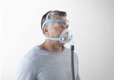 Man wearing Vitera full face mask - angled view