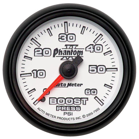 AUTO METER PHANTOM II SERIES BOOST GAUGE 7505 0-60 PSI-XDP-Full Send Diesel