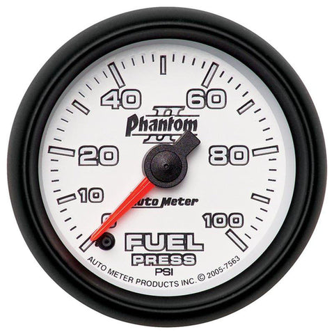 AUTO METER PHANTOM II SERIES FUEL PRESSURE GAUGE 7563 0-100 PSI-XDP-Full Send Diesel