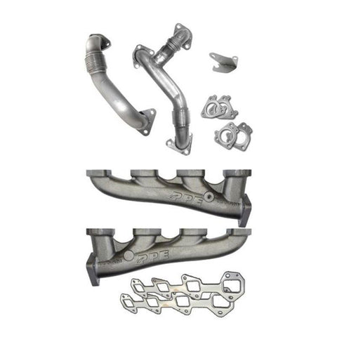 PPE 116111400 HIGH-FLOW EXHAUST MANIFOLDS WITH UP-PIPES 2004.5-2005 GM 6.6L DURAMAX LLY-XDP-Full Send Diesel