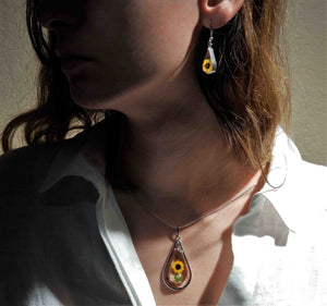 Sunflower Necklace, X-Large Swivel Teardrop, Transparent