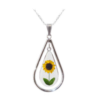 Load image into Gallery viewer, Sunflower Necklace, X-Large Swivel Teardrop, Transparent