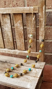 Blue Magnesite and Jasper Golden Grass Necklace