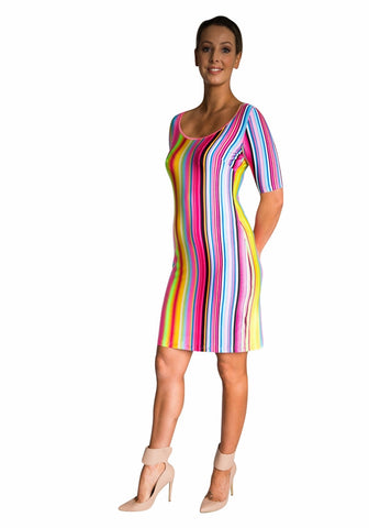 Neon Stripe Tunic Dress