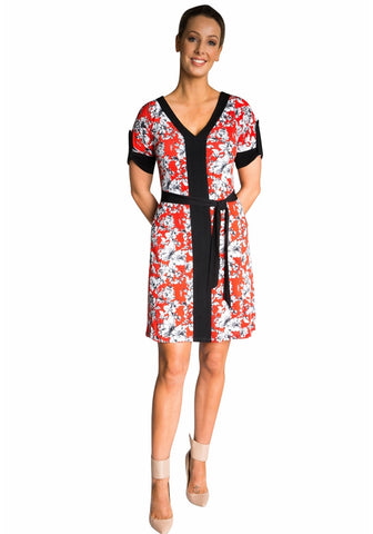 Retro Tunic Dress - Red or Blue Floral Print