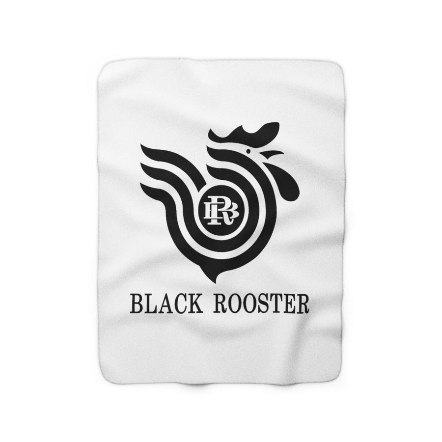 Black Rooster sherpa fleece blanket