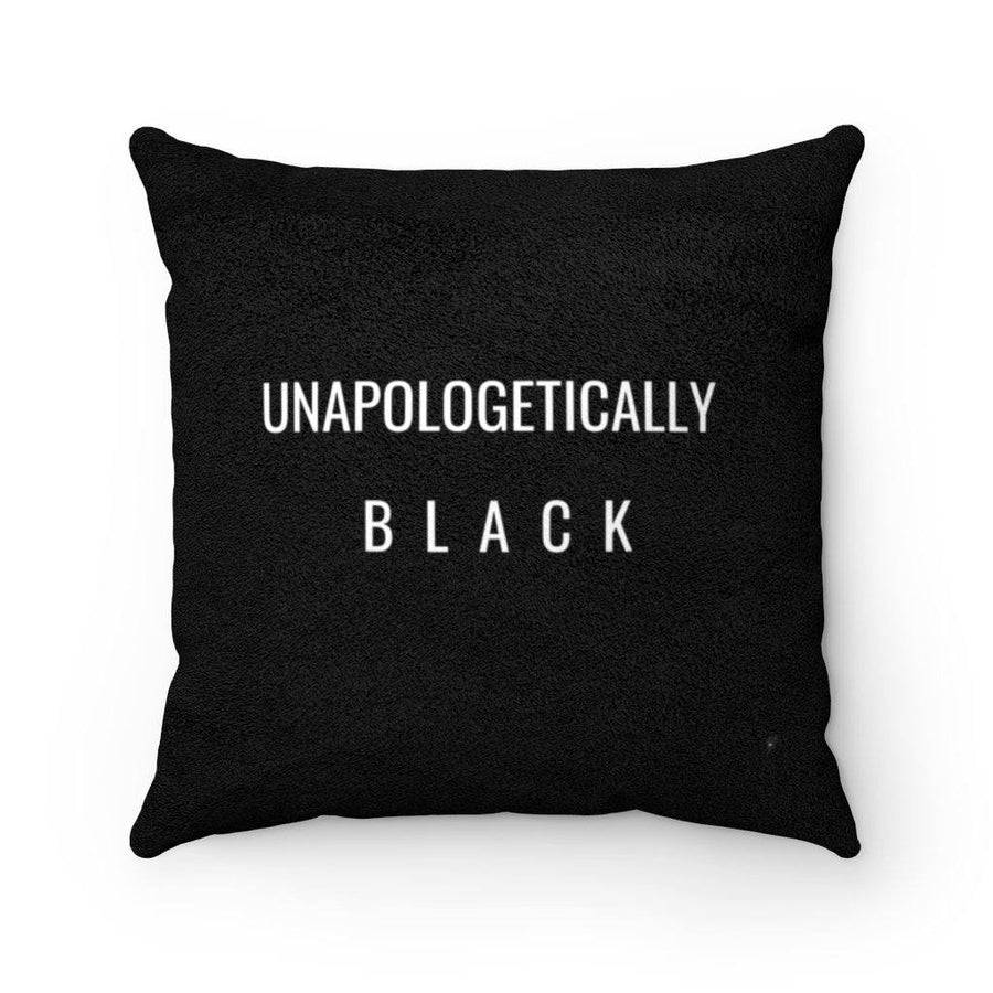 Unapologetically Black faux suede square pillow