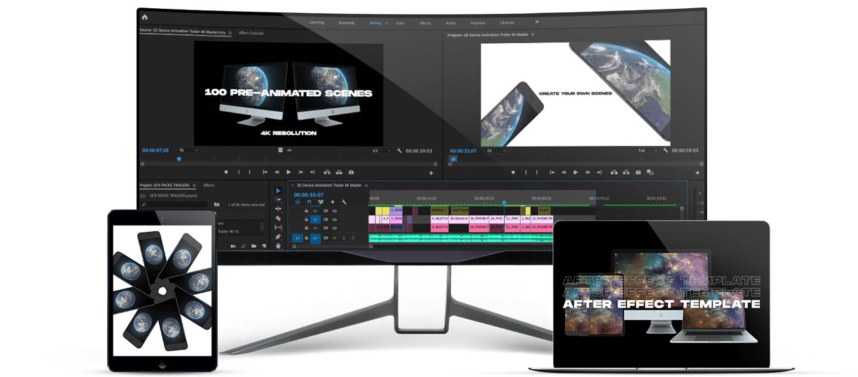 3d device animations after effects template