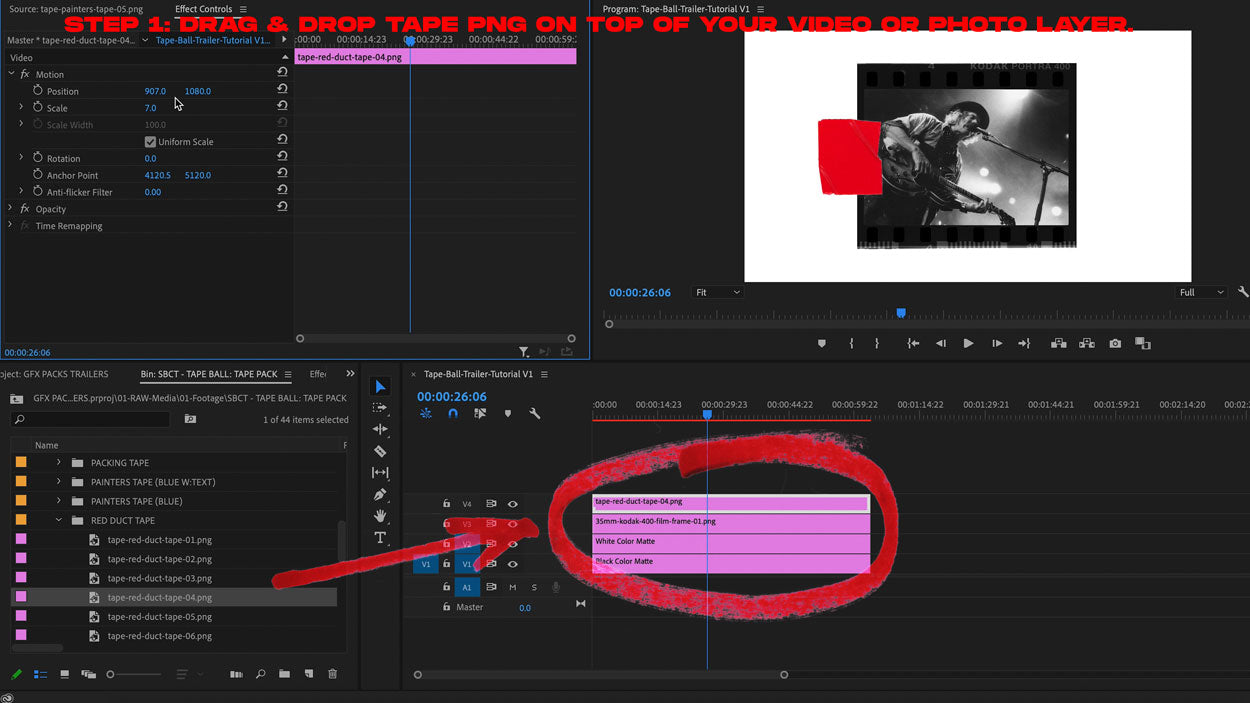 how to add tape png premiere pro tutorial