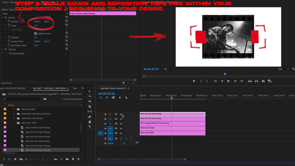 how to add tape png premiere tutorial