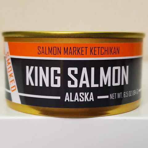 SMOKED Wild Alaskan KING Salmon Can 6.5 oz - SalmonMarket