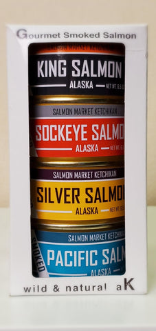 4 CANS SMOKED SALMON GIFT BOX: KING, SOCKEYE, SILVER, PACIFIC