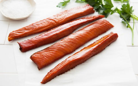 SMOKED SILVER SALMON STRIPS - 6 OZ