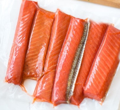 SMOKED SILVER SALMON STRIPS - 8 OZ