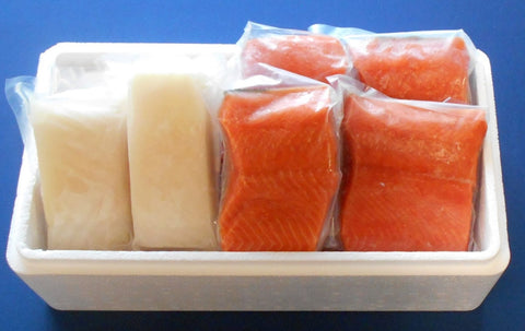 FRESH Wild Alaskan KING SALMON & HALIBUT FREE SHIPPING  10 POUNDS TOTAL