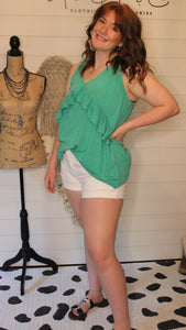 Green front ruffle top