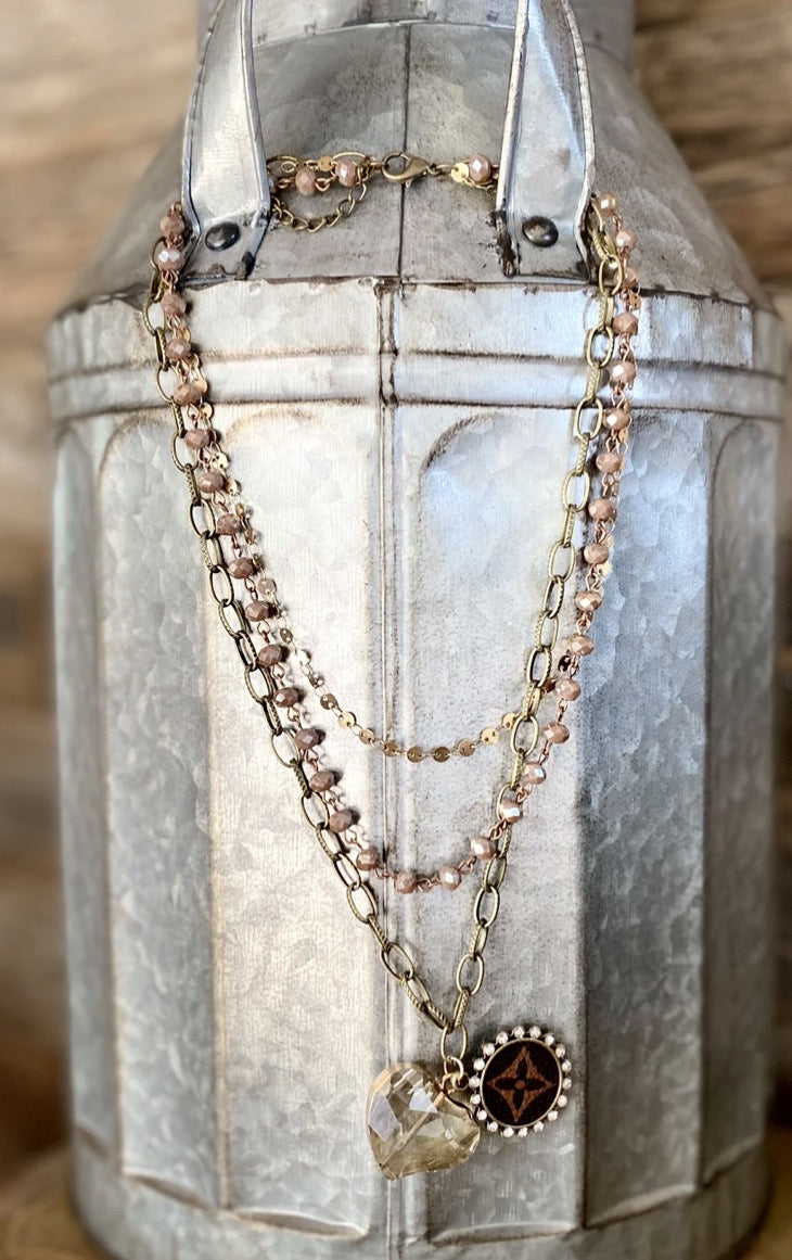 Repurposed LV layered necklace