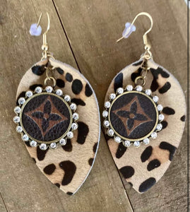 Repurposed Leopard earings