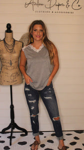 Grey sleeveless top with lace trim