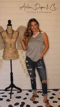 Load image into Gallery viewer, Grey sleeveless top with lace trim