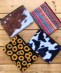 Cow print makeup bag