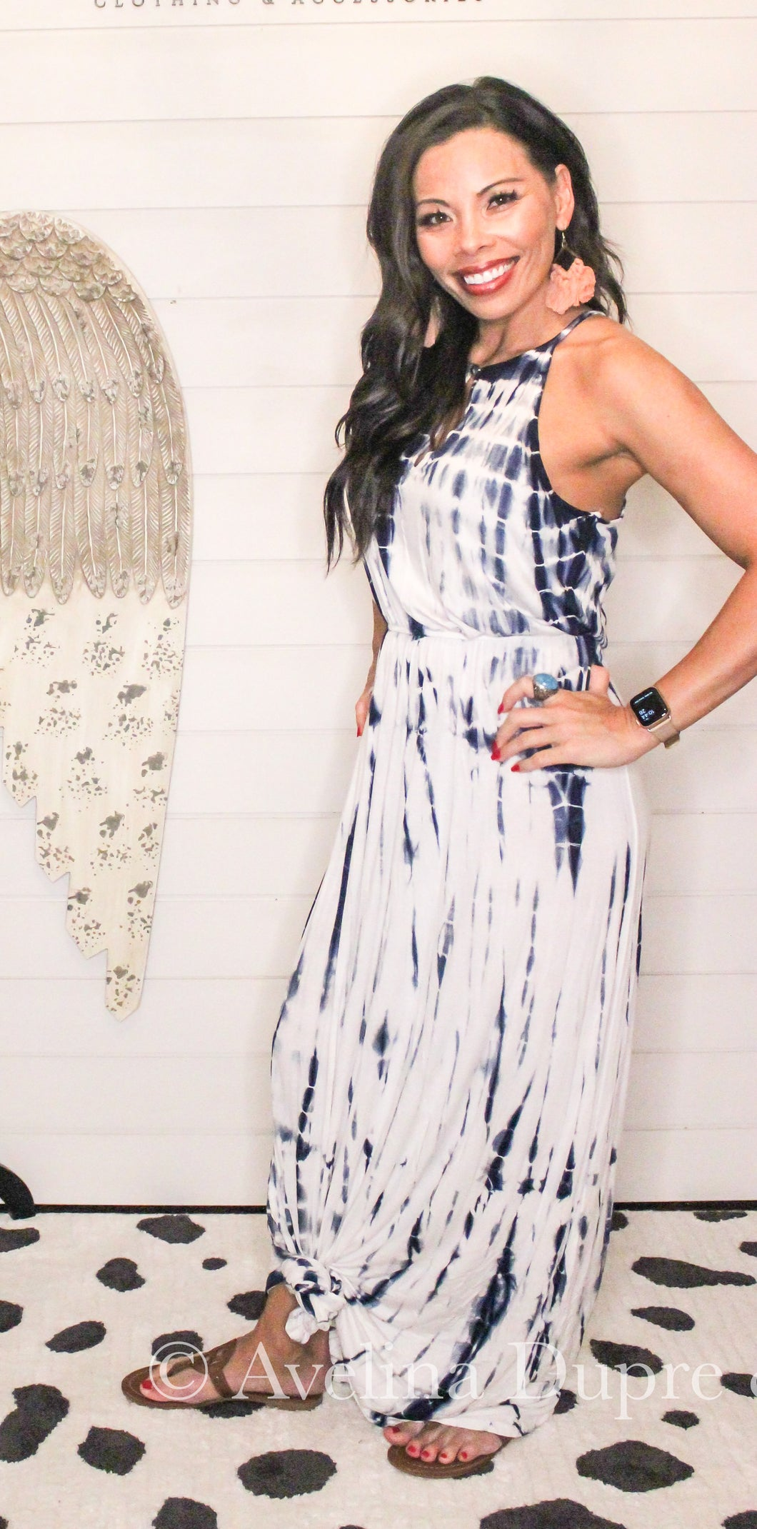 Tie Dye Maxi Dress with key hole