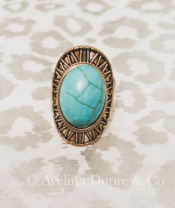 Vintage style turquoise stone ring