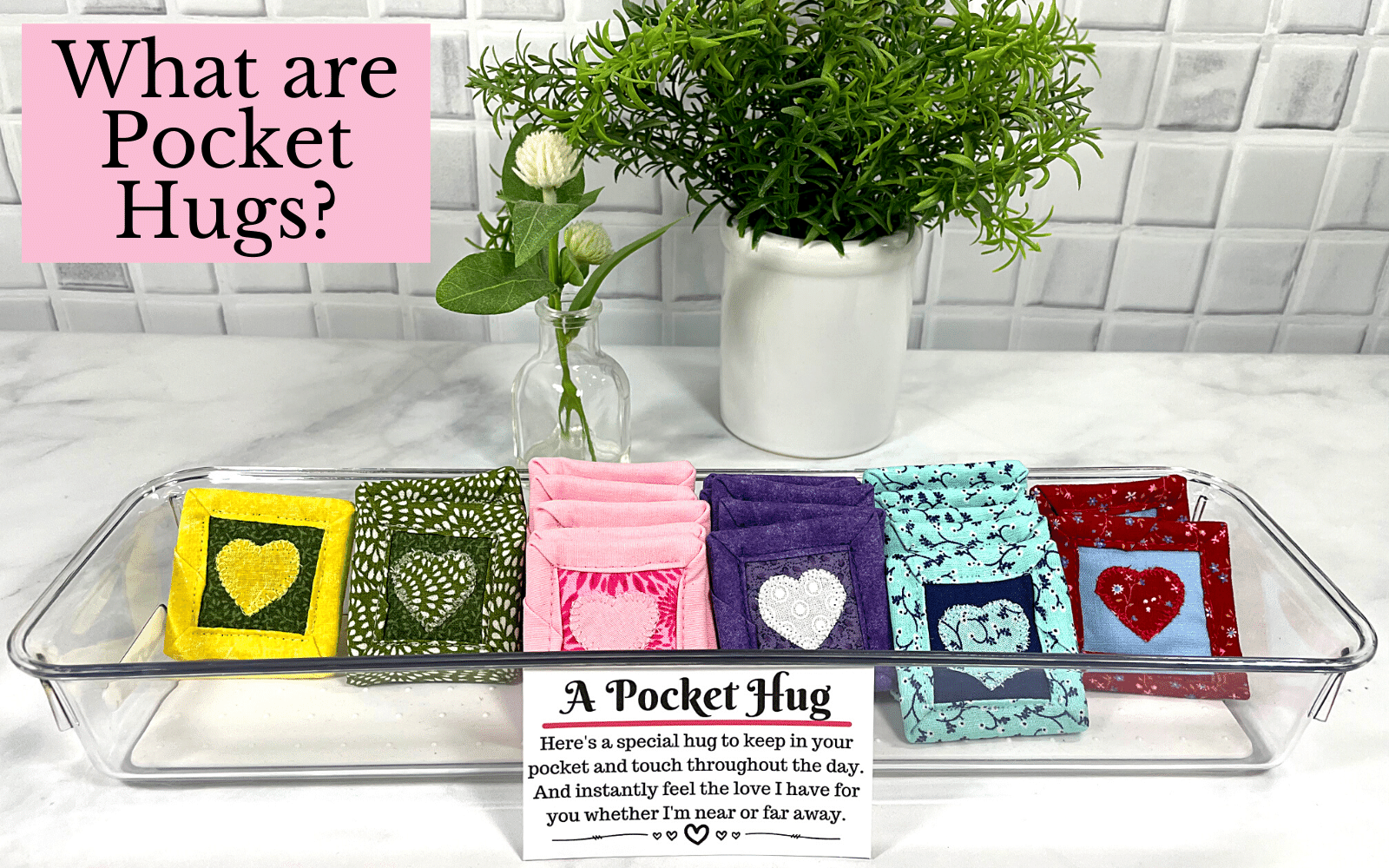 Pocket hugs make a great gift for the one you love.  Kids, the elderly and any age in between would love receiving a token of your love.  Each one comes with a poem card too.