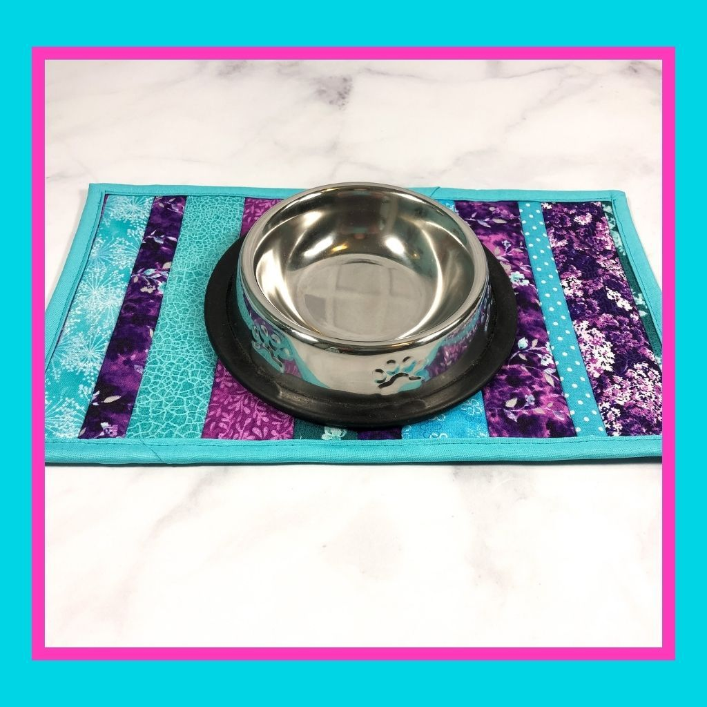 Cat food and drink mats are so special for that pampered cat in your life.  Make their feeding station colorful and fun with these 100% cotton quilted mini placemats.  They make a great gift for the cat lover in your life.