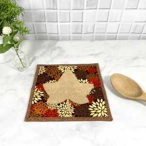 These are gorgeous maple leaf themed quilted potholders for your home.  The trivets are made from 100% cotton fabric and are washable.  Practical, yet beautiful and make a great gift for that autumn lover in your life.