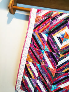 Strip Pieced Diamond Baby Quilt