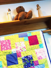 Load image into Gallery viewer, Lime Green Floral Baby Quilt