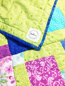 Lime Green Floral Baby Quilt