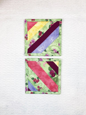 Green Floral Drink Coaster Set of 2