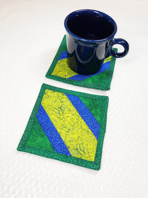 Modern Green and Blue Drink Coaster Set of 2