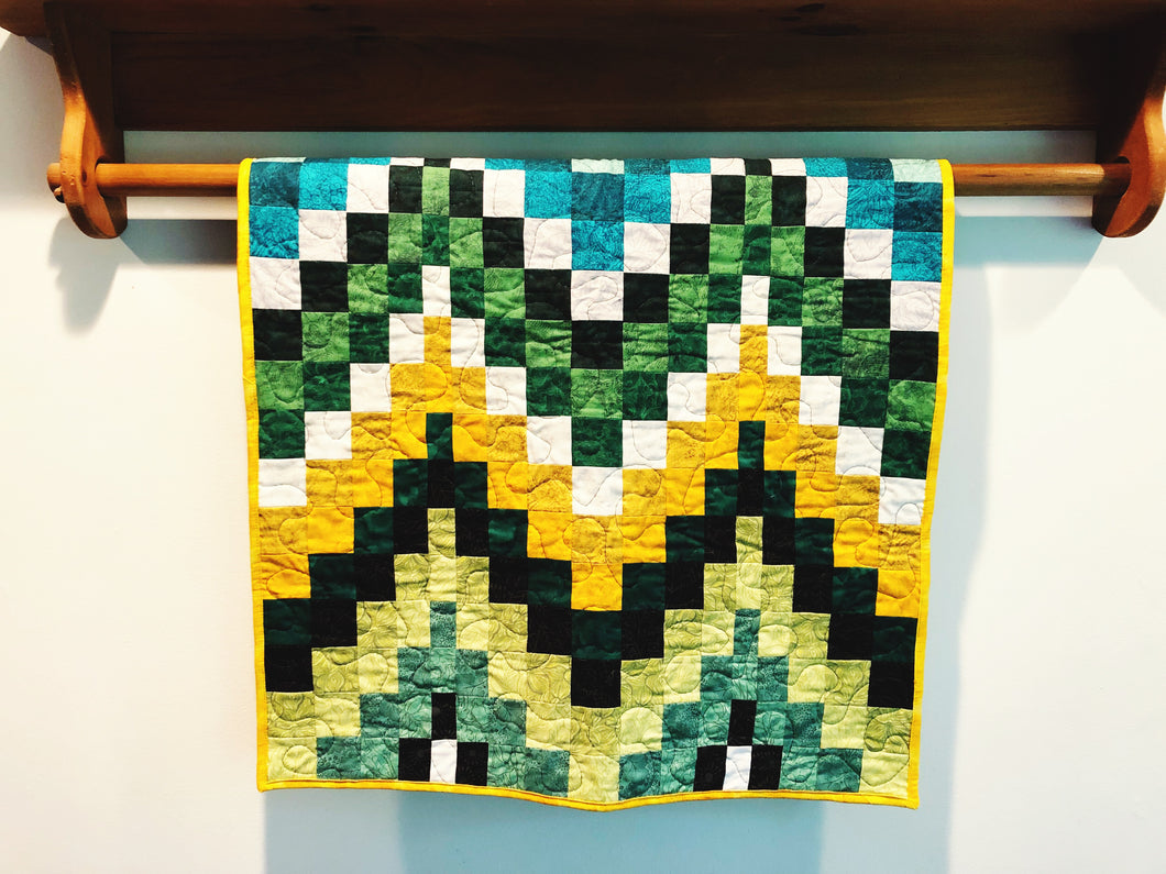 Green Bargello Baby Quilt