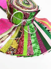 Load image into Gallery viewer, Green and Pink Fabric Jelly Roll