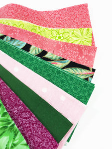 Green and Pink Fabric Jelly Roll