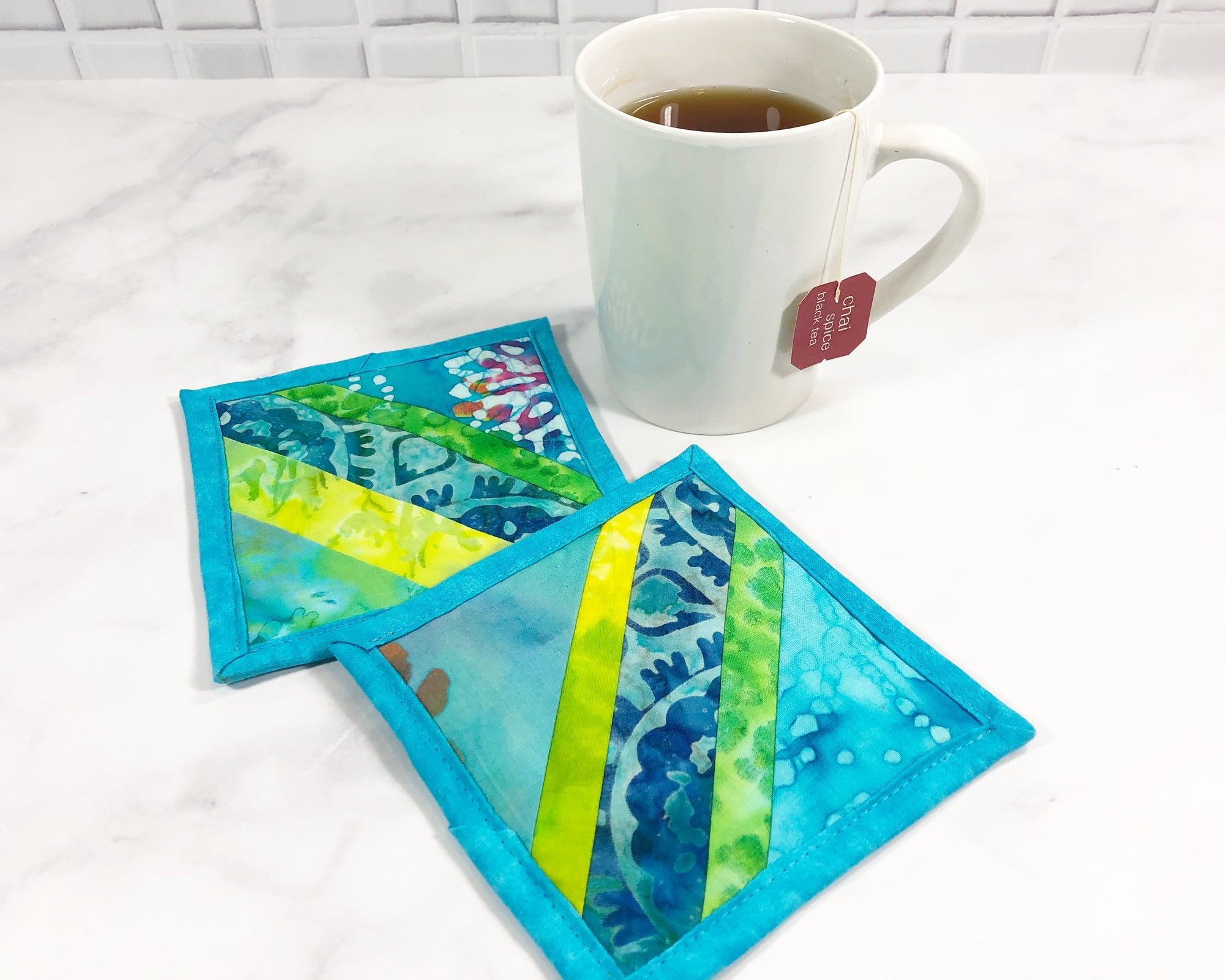 Aqua Blue Batik Striped Drink Coaster Set of 2