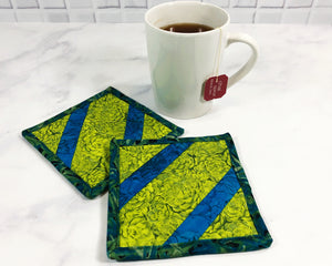 Green and Blue Mug Rug Set of 2