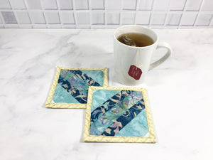 Batik Blue Mug Rug Set of 2