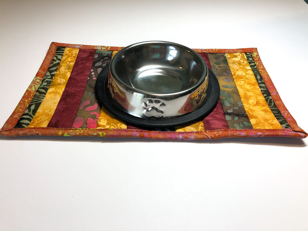 Orange and Burgundy Batik Fabric Cat Food Mat