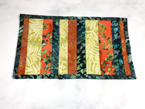 Orange and Green Batik Cat Food Mat