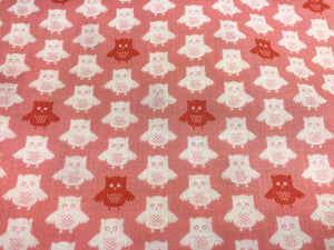 Pink Owl Cotton Fabric