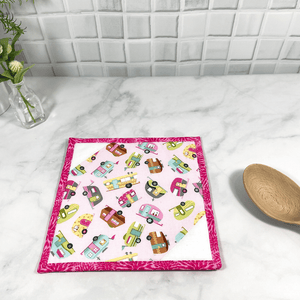 These are gorgeous vintage camper themed quilted potholders for your home.  The trivets are made from 100% cotton fabric and are washable.  Practical, yet beautiful when used as hot pads on your kitchen island or dining table.