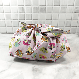 Bento bags are 100% cotton, making them environmentally friendly.  They are a great addition to your zero waste kit or a great bag for fresh produce, bread, lunches, knitting or reusable gift bag.  Also called origami bags, azuma bukuro - whatever you call them, they sure are practical and beautiful!  Check them out!