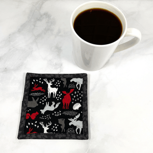 This is a woodland animal themed fabric drink coaster aka mug rug.  These make a great addition to your home office desk or your home coffee bar.  They also make great gifts for that special someone in your life.